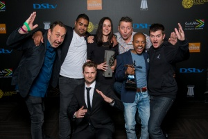 "DURBAN, SOUTH AFRICA - AUGUST 21: Grand Prix Winners : Chicken Licken's ""Kung Fu"" by Network BBDO at the Loeries Sunday Winners Back Stage Portraits at the ICC on August 21, 2016 in Durban, South Africa. (Photo by Roy Esterhuysen/2016 Loerie Awards)"