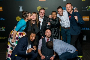 DURBAN, SOUTH AFRICA - AUGUST 21: Grand Prix Winners : KFC's ''The Everyman Meal'', by Ogilvy & Mather Johannesburg  at the Loeries Sunday Winners Back Stage Portraits at the ICC on August 21, 2016 in Durban, South Africa. (Photo by Roy Esterhuysen/2016 Loerie Awards)